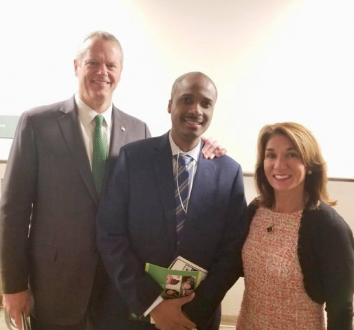 President Hans Patrick Domercant with Governor Charlie Baker and Lientenant Governor Polito